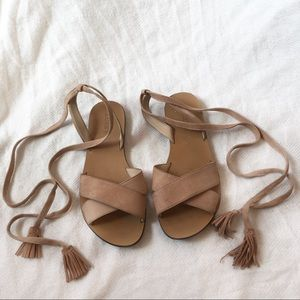[JCREW] Tied up suede sandals slippers slides 7
